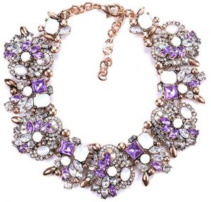 Purple and White Crystal Statement Necklace