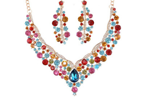 Yuhuan Women Alloy Crystal Necklace and Earring Set Wedding Jewelry Rhinestone Necklace