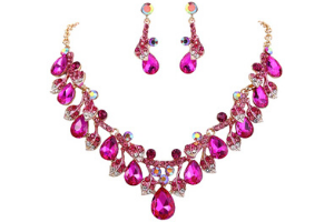 BriLove Leaf Vine Enamel Necklace and Earring Set (Fuchsia Gold-Tone)